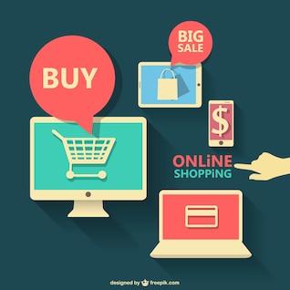Compras on-line gráficos planas