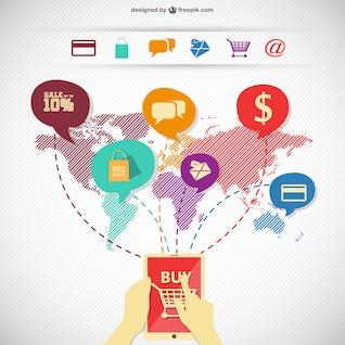 Compras on-line imagem infográfico