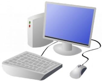 computador desktop e desenhos animados