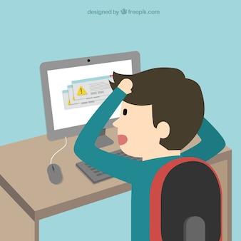 Os problemas do computador dos desenhos animados