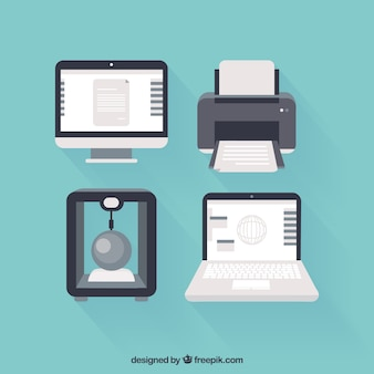 Computadores e impressoras ícones