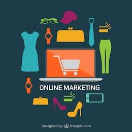 Conceito do design plano compras on-line