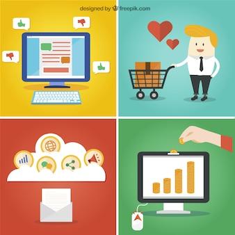 Conceito do negócio on-line