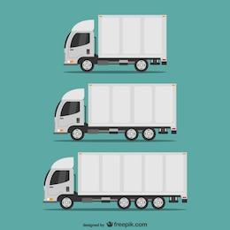 Conjunto caminhões de transporte vetor