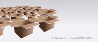 Conjunto de caixas de papelão