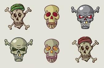 Conjunto de crânios em estilo cartoon