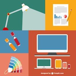 Conjunto de ícones apartamento moderno de elementos de escritório