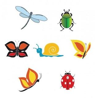 Conjunto de insetos coloridos bonitos