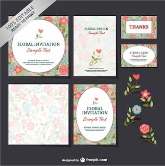 Conjunto floral livre mock-up
