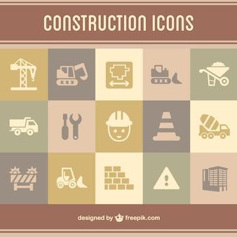 ícones lisos construção definidos