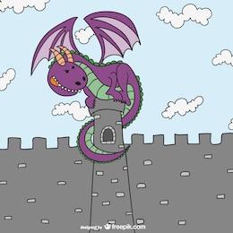 Contos de fadas dragão e castelo
