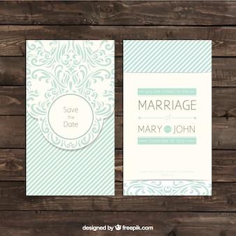 Convite de casamento retro ornamental