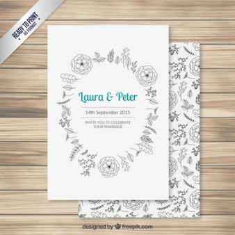 Convite do casamento com as flores desenhadas mão