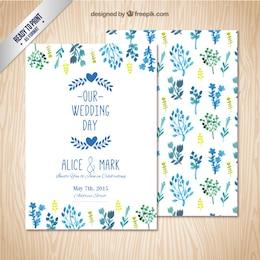 Convite do casamento com folhas de aquarela