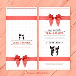 Convite do casamento com gatos bonitos