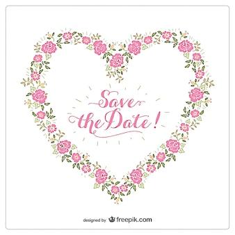 Convite floral do coração