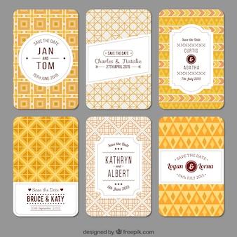 Convites do casamento geométricas amarelas