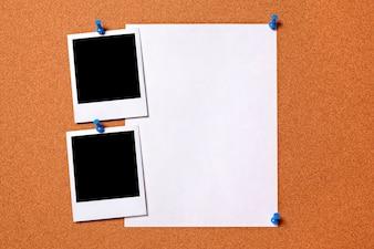 Cópias da foto polaroid em branco e poster papel comum