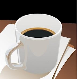 Copo de café preto na pilha de papel