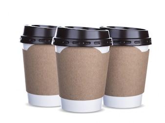 Copos de café com aperto de papelão