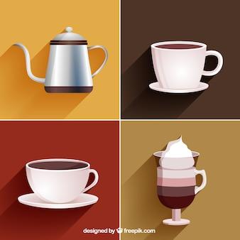 Copos de café e jarra de café