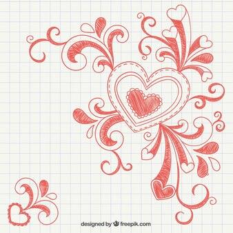 Coração desenhado com redemoinhos