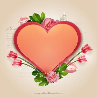 Coração e flores dos Namorados