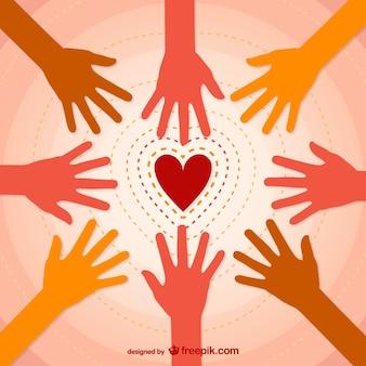 Coração e mãos vector