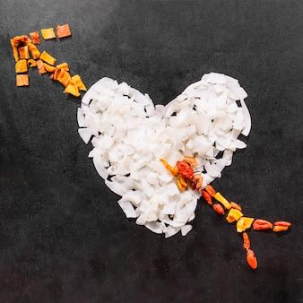 Coração feito com frutas secas
