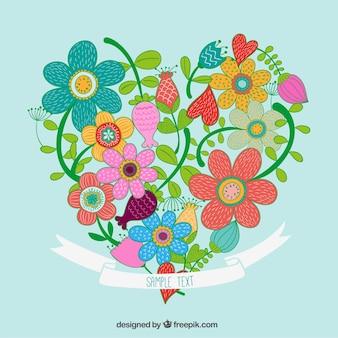 Coração feito de flores esboçado