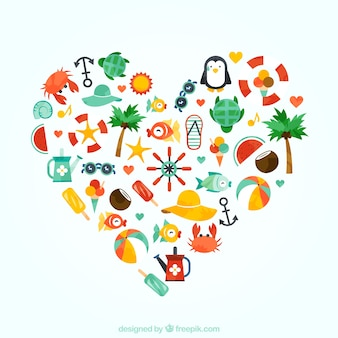 Coração feito dos ícones do verão