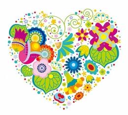 coração floral abstrato