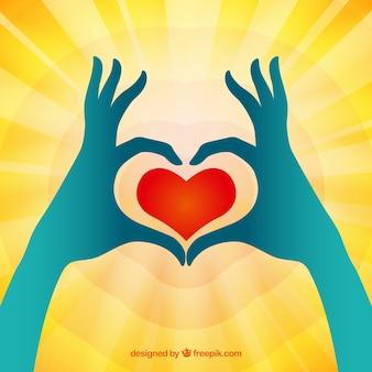 Coração mãos