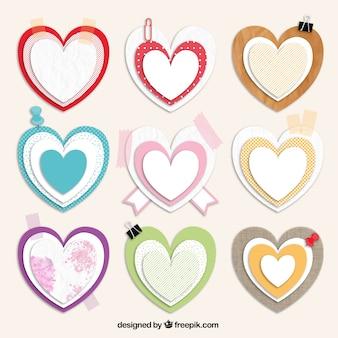 Corações no estilo scrapbooking