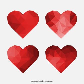Corações poligonais