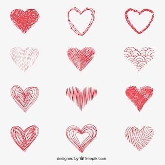 Corações vermelhos esboçado