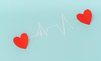 Corte do papel da cardiograma de ritmo cardíaco para o Dia dos Namorados.