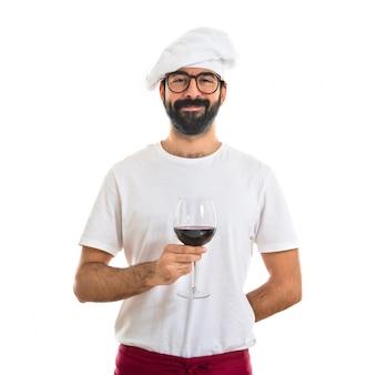 Cozinheiro, segurando, vinho, vidro