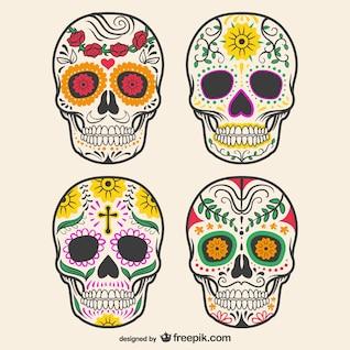 Crânios decorados coloridos
