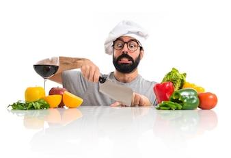 Crazy hipster chef cortando o dedo