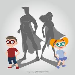 Crianças e super-heróis dos desenhos animados