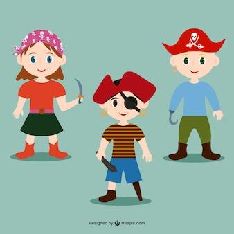 Crianças piratas ilustração vetorial