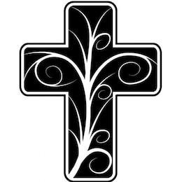 Cruz católica com design floral
