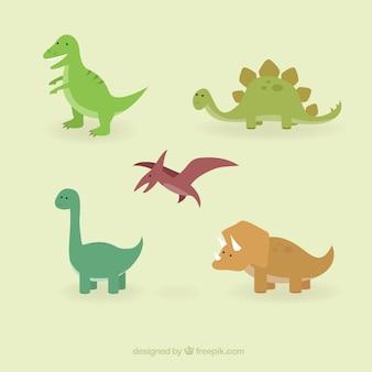 Dinossauros bonitos ajustaram