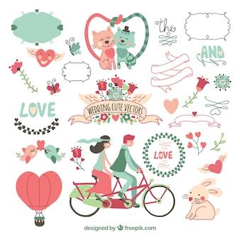 Cartão de casamento bonito com animais