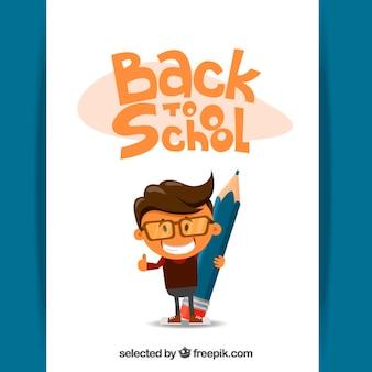 De volta à ilustração da escola com uma criança