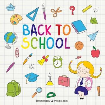 De volta à ilustração da escola no caderno