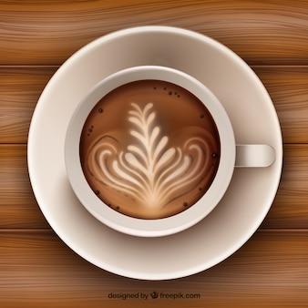 Decoração na superfície do café