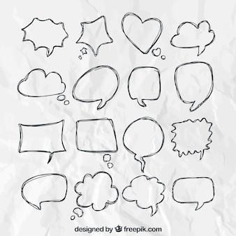 Desenhadas mão balões de fala