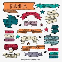 Desenhadas mão banners